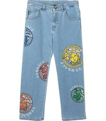 versace straight jeans with medusa young print