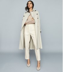 reiss aurellie - semi-sheer slim-fit top in neutral, womens, size xl