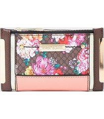 river island womens brown ri monogram floral foldout purse