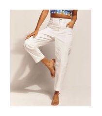 calça de sarja feminina emi beachwear baggy cintura alta off white