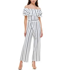 almost famous juniors' off-the-shoulder ruffled jumpsuit