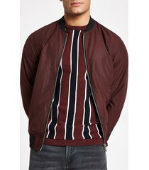 river island mens dark red bomber jacket