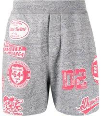 dsquared2 varsity sport-print track shorts - grey