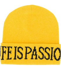 alberta ferretti life is passion knitted beanie - yellow