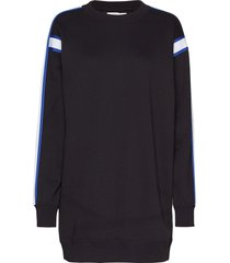 crew neck dress with sweat-shirt trui zwart calvin klein jeans