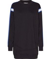 crew neck dress with sweat-shirt trui zwart calvin klein jeans