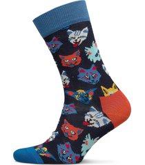 funny cat sock underwear socks regular socks blå happy socks