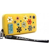 billetera amarilla leblu flores