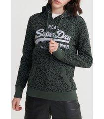 superdry women's vintage-like logo animal print hoodie