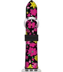 kate spade new york women's black floral silicone apple watch strap