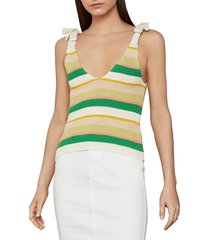 bcbgmaxazria women's ribbed bow tie cotton-blend tank top - gardenia combo - size s