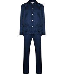 derek rose tonal pinstripe silk pajama set - blue