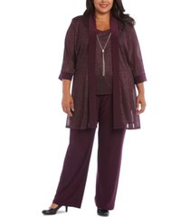 r & m richards plus size 3-pc. metallic jacket, metallic necklace top & pants set