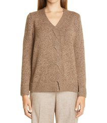 women's lafayette 148 new york braided cable cashmere & silk sweater, size large - brown