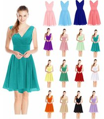 v neck short chiffon evening cocktail bridesmaid formal wedding party prom dress