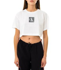 calvin klein t-shirt donna hologram logo crop tee j20j215612.yaf