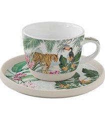 filiżanka porcelanowa z talerzykiem jungle 250 ml