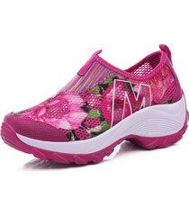 mujeres zapatos de malla transpirable de verano zapatillas de plataforma
