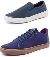 kit 2 sapatenis sandalo soft marinho e levit azul