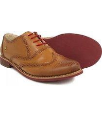 zapatos mujer puchetty oxford miel y rojo cuero