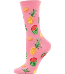 women's tropical fruit bamboo blend crew socks