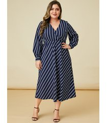 yoins plus talla navy tie-up diseño rayas de manga larga vestido
