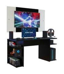 mesa gamer madesa 9409 e painel para tv até 58 polegadas - preto/branco preto