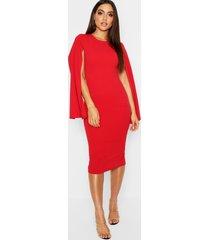 cape sleeve bodycon midi dress, red