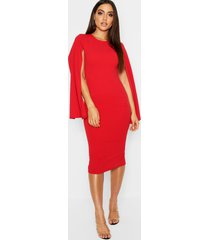 cape sleeve bodycon midi dress, red