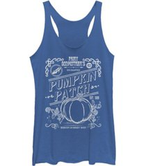fifth sun disney women's cinderella halloween pumpkin patch tri-blend tank top