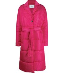 msgm belted single-breasted padded coat - pink