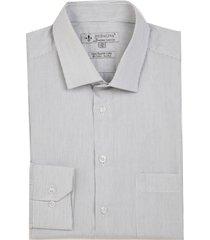 camisa dudalina manga longa luxury fio tinto maquinetado listrado masculina (marrom medio, 48)