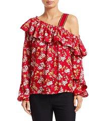 asymmetric floral silk-blend blouse