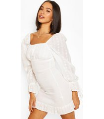 broderie anglaise shirred ruffle hem mini dress, white