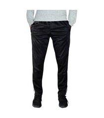 calça esporte ks tecido agasalho cós de elástico bolsos frontais e faixas nas laterais ref. 0282 preto