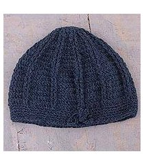 100% alpaca hat, 'denim softness' (peru)