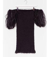 womens off the record puff sleeve mini dress - black
