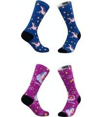 men's and women's dreamy unicorn socks, set of 2