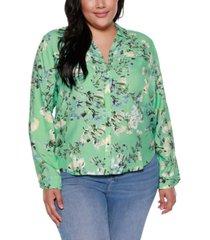 belldini black label plus size floral print shirt
