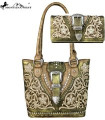 3 colors belt buckle floral applique montana west tote bag + wallet set