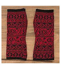 alpaca blend fingerless gloves, 'crimson world' (peru)