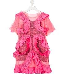 raspberry plum zita ruffle-trimmed layered dress - pink