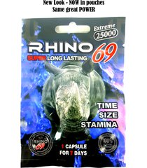 rhino 69 extreme 25000 male sexual enhancer - now in pouches - 1 pill