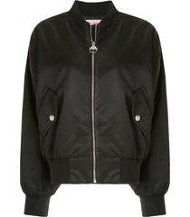 chiara ferragni crystal bomber jacket - black