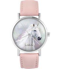 zegarek - biały koń - skóra, pudrowy róż