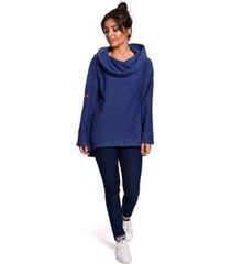 sweater be b131 pullover top met hoge kraag - indigo