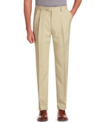 jos. a. bank men's traveler performance traditional fit pleated front pants clearance, tan, 30x32