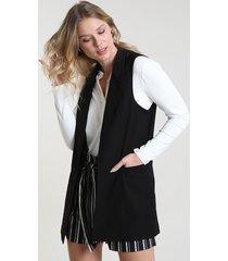 colete feminino longo alfaiatado com bolsos preto