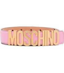 moschino gold letter logo belt - pink