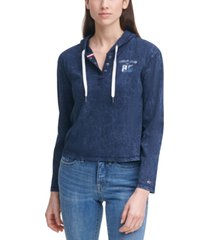 tommy jeans acid-wash cotton henley hoodie